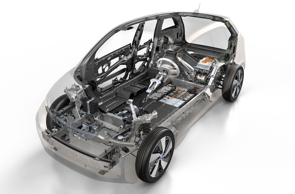 BMW i3, with carbon-fiber-reinforced polymer safety cell