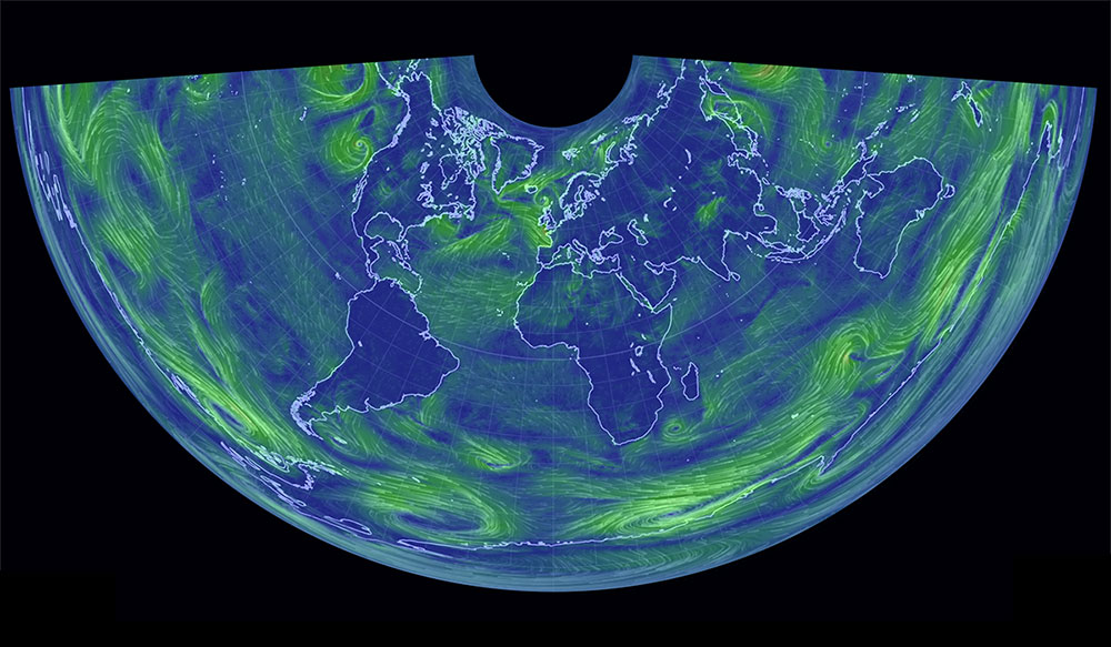 Conic equidistant world wind map