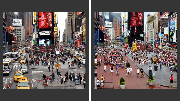 Before & after: Broadway at Times Square in New York City. Former Mayor Michael Bloomberg and former Transportation Commissioner Janette Sadik-Khan returned a significant portion of the city's streets to pedestrians. Images: New York City Department of Transportation.