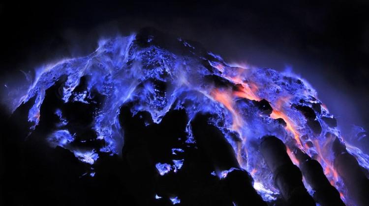 Rivers of blue flame at Kawah Ijen volcano. Photo: Olivier Grunewald/via National Geographic