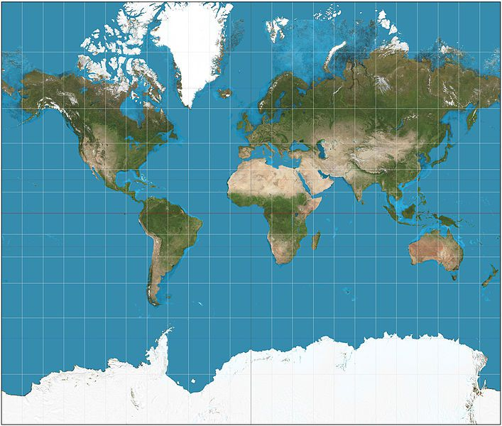 Standard Mercator projection.