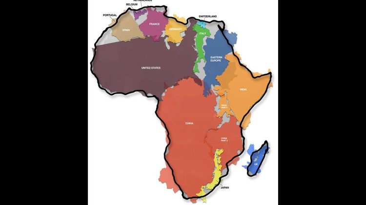 Map showing distortion of African continent size by Mercator projection
