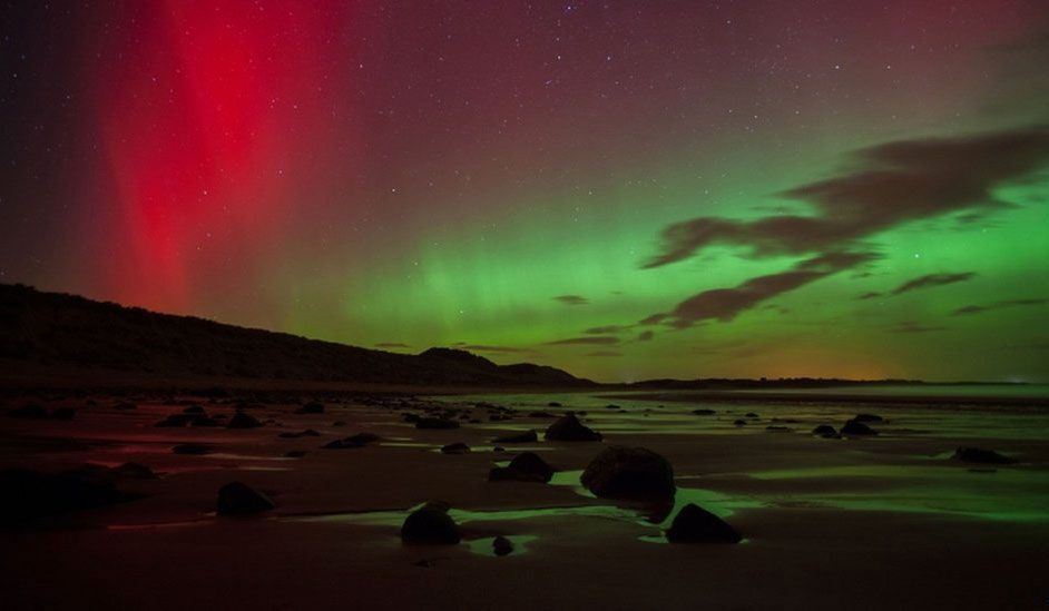 Aurora borealis photographed at Embleton Bay, Northumberland, UK