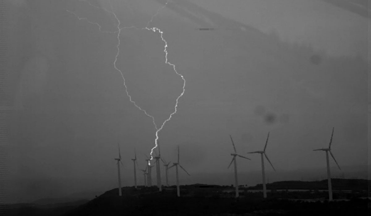 Upward lightning from wind turbine blades
