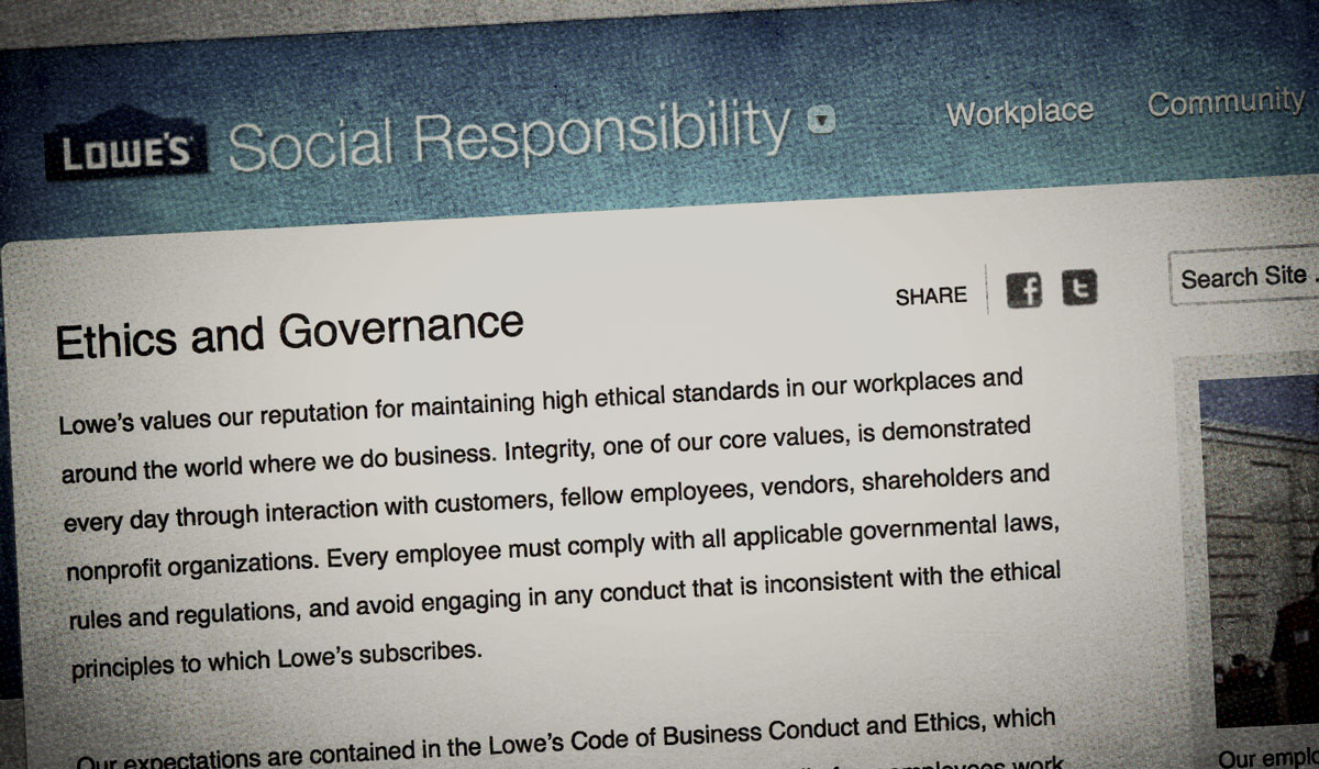 Lowes Ethics web page